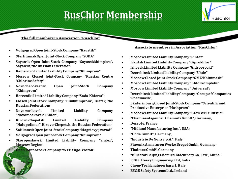 RusChlor Membership The full members in Association Ruschlor