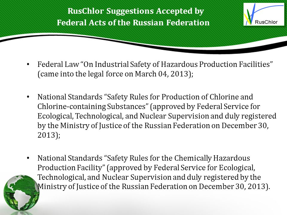 RusChlor Suggestions Accepted by Federal Acts of the Russian Federation