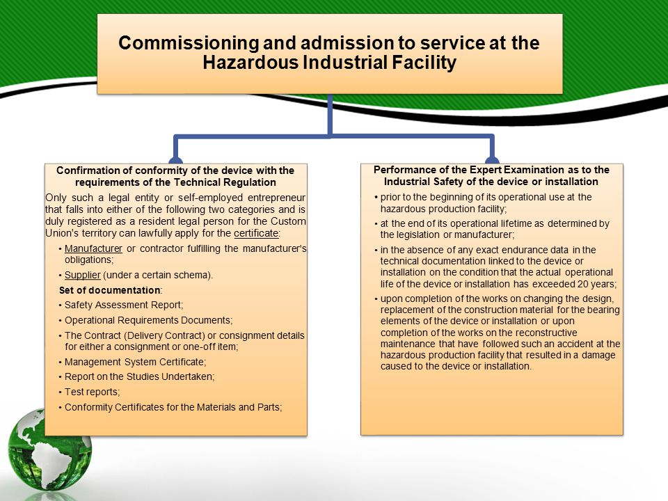 Commissioning and admission to service at the Hazardous Industrial Facility