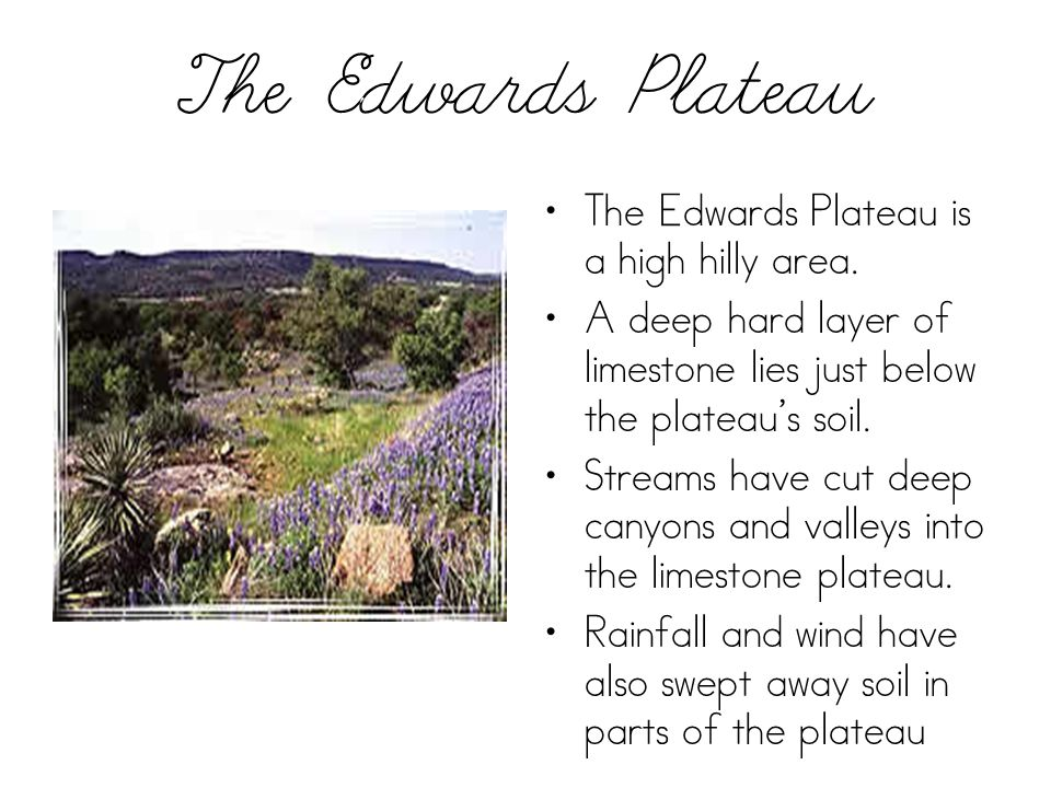 The Edwards Plateau The Edwards Plateau is a high hilly area.