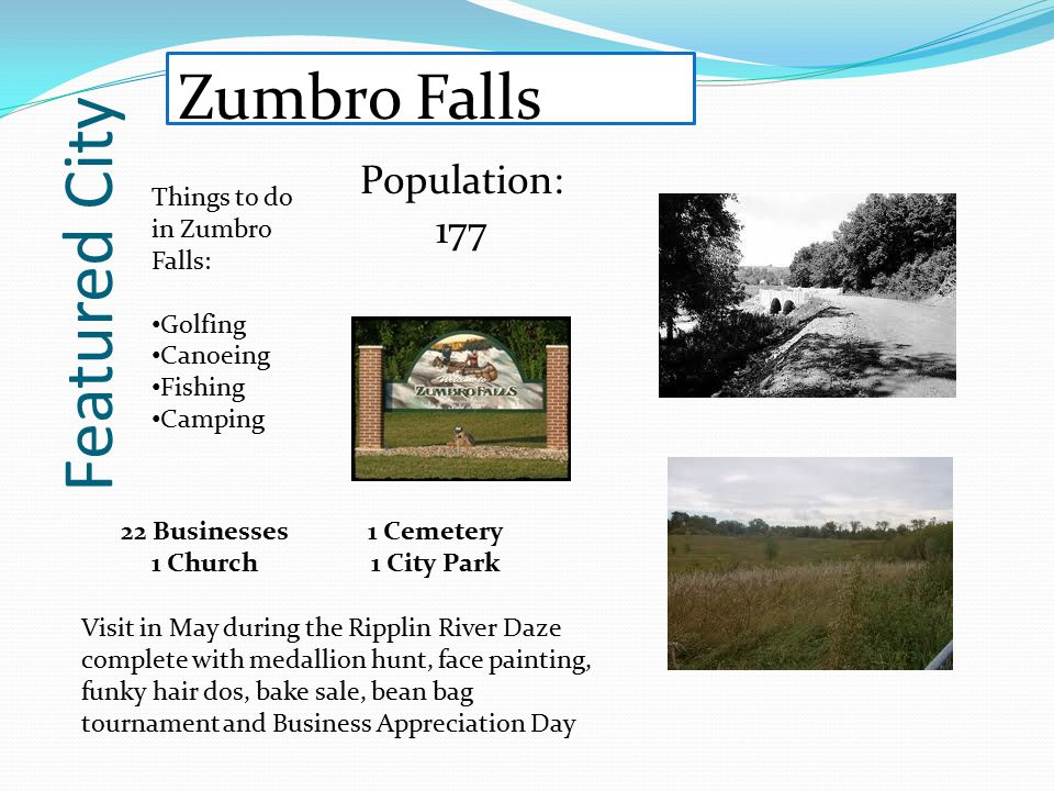 Featured City Zumbro Falls Population: 177