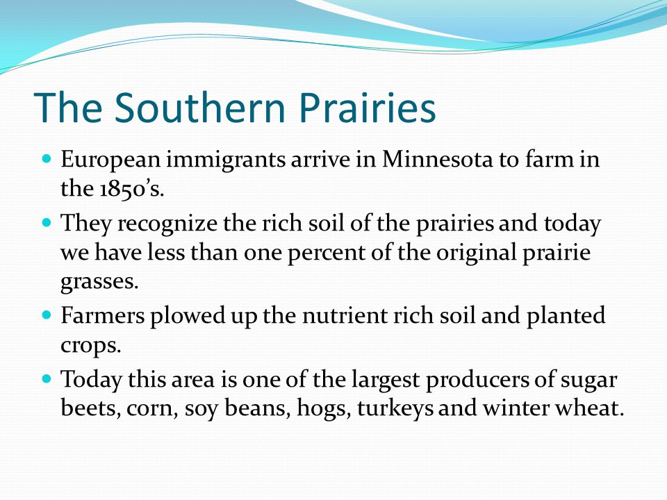 The Southern Prairies European immigrants arrive in Minnesota to farm in the 1850's.