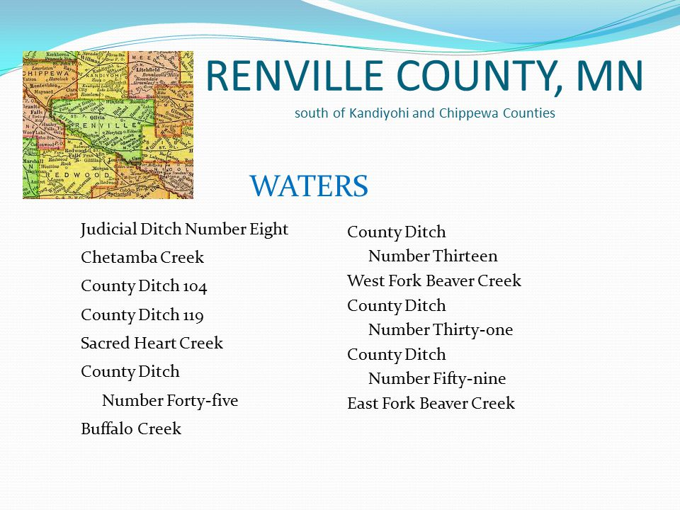 RENVILLE COUNTY, MN south of Kandiyohi and Chippewa Counties