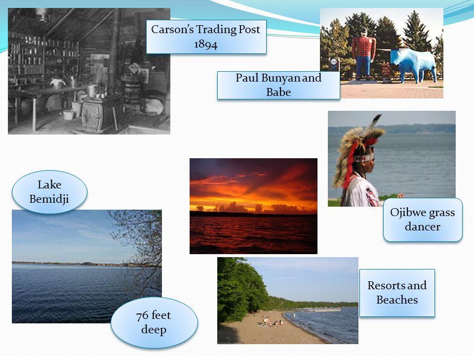 Carson's Trading Post 1894. Paul Bunyan and Babe. Lake Bemidji. Ojibwe grass dancer. Resorts and Beaches.