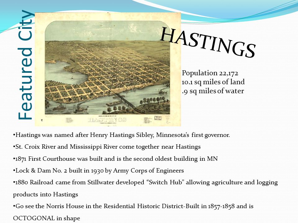Featured City HASTINGS Population 22,172 10.1 sq miles of land