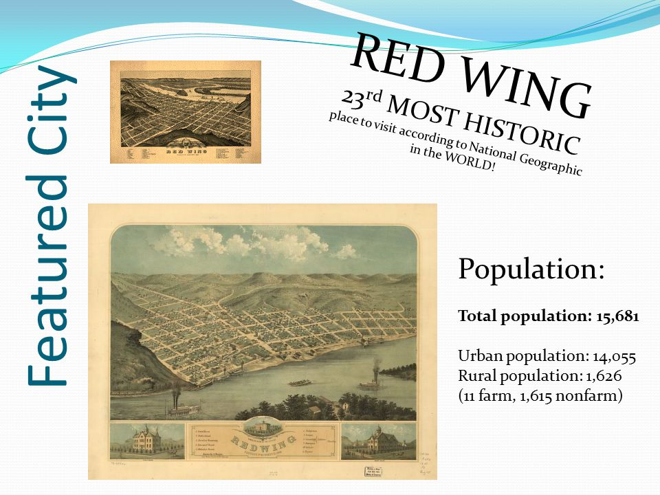 Featured City RED WING Population: