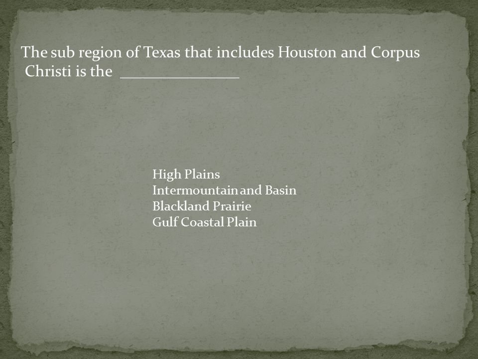 The sub region of Texas that includes Houston and Corpus