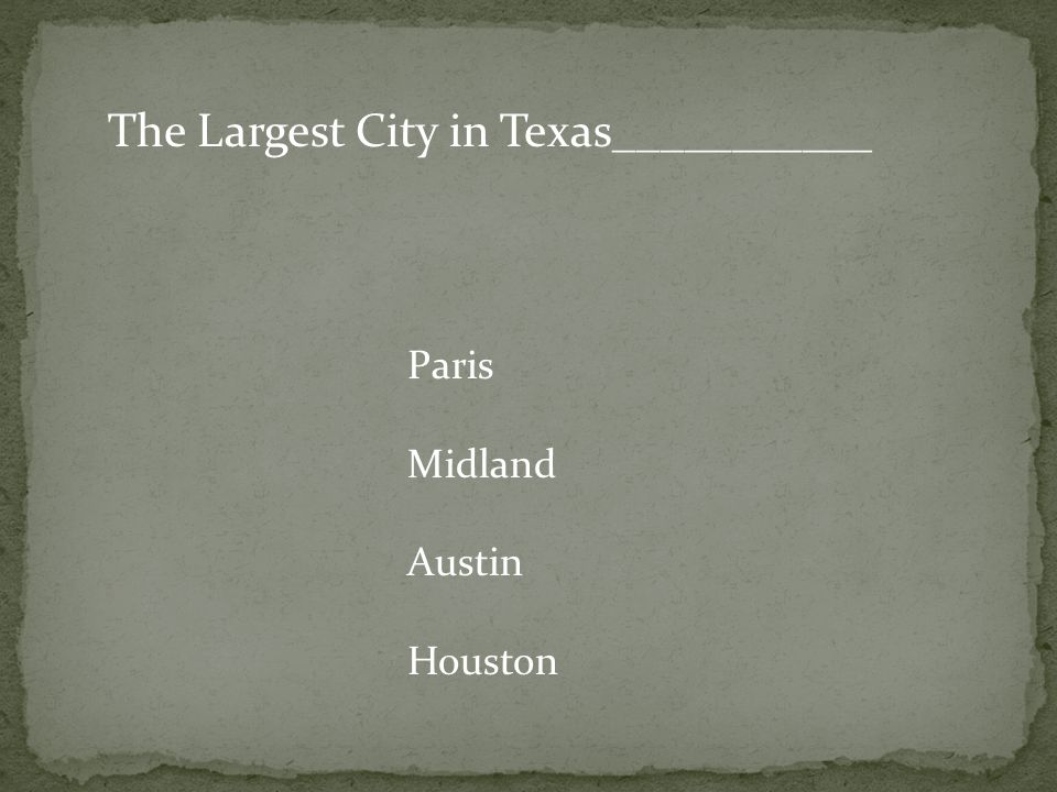 The Largest City in Texas___________