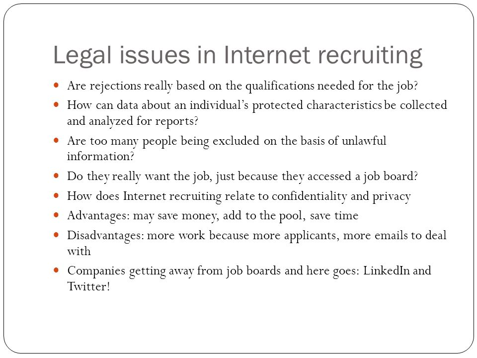Legal issues in Internet recruiting