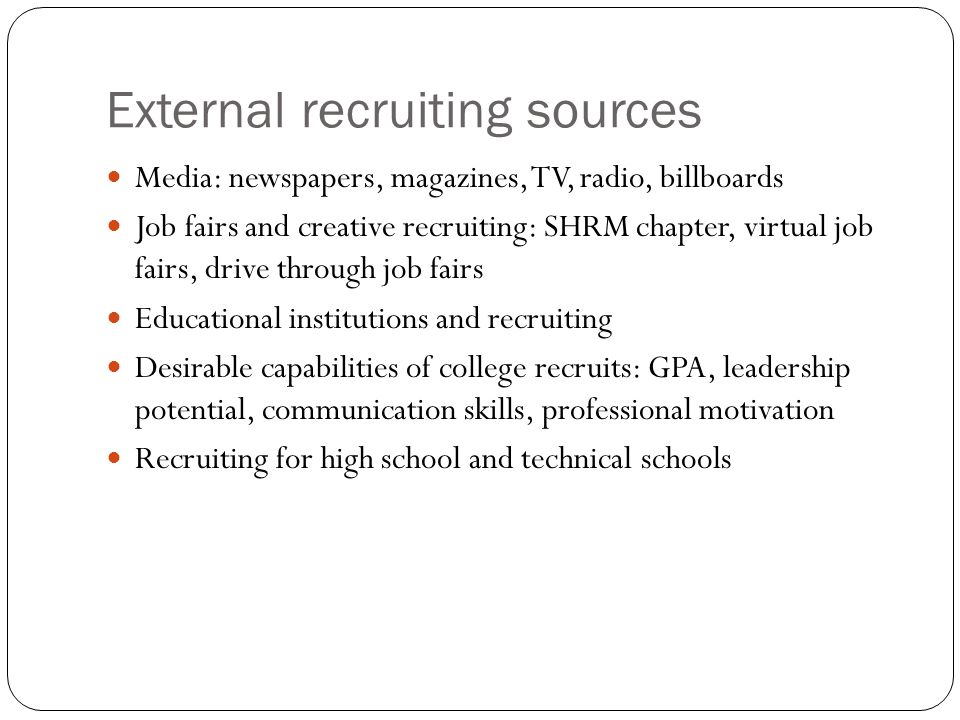 External recruiting sources