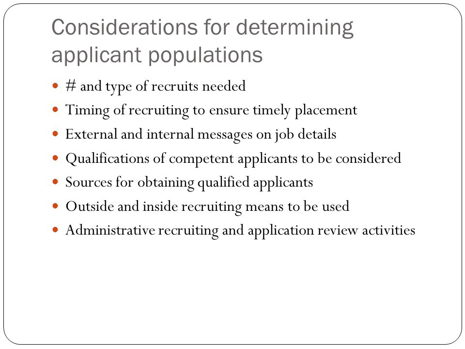 Considerations for determining applicant populations