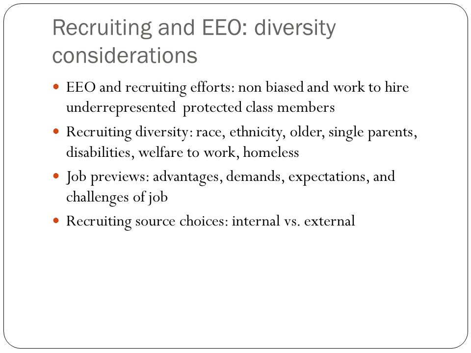 Recruiting and EEO: diversity considerations