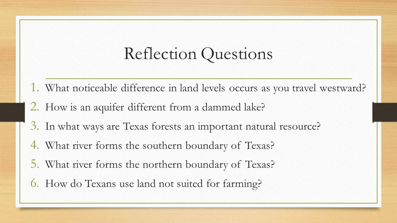 Reflection Questions What noticeable difference in land levels occurs as you travel westward How is an aquifer different from a dammed lake