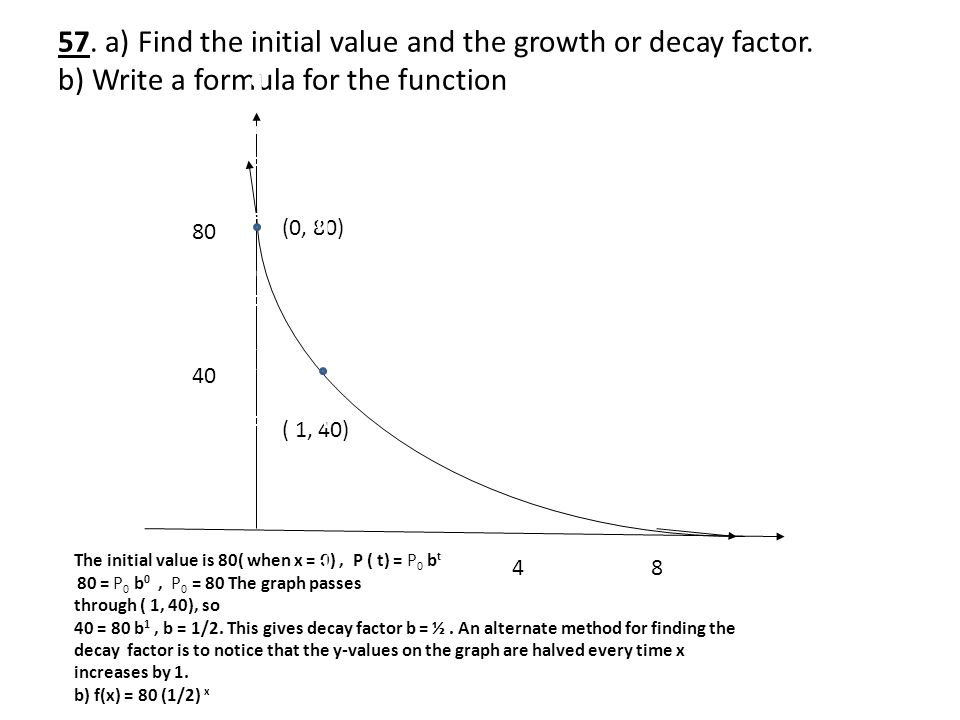 57. a) Find the initial value and the growth or decay factor