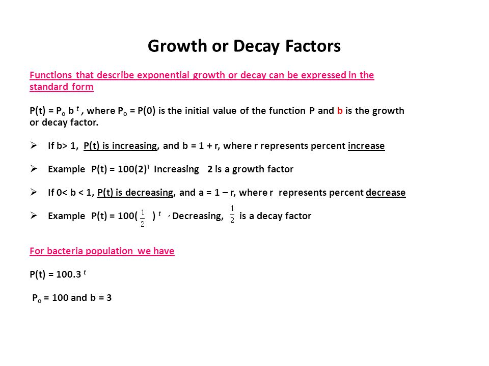 Growth or Decay Factors