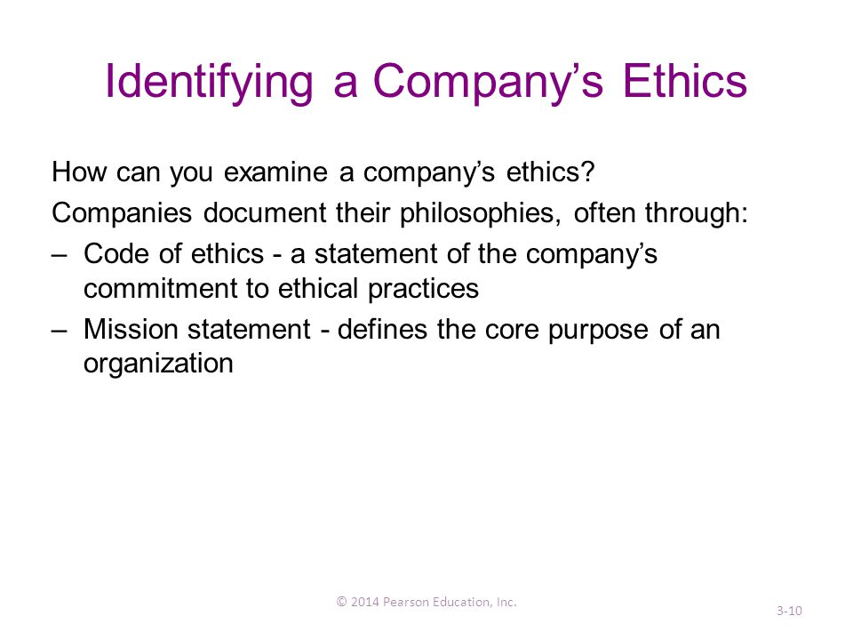 Identifying a Company's Ethics