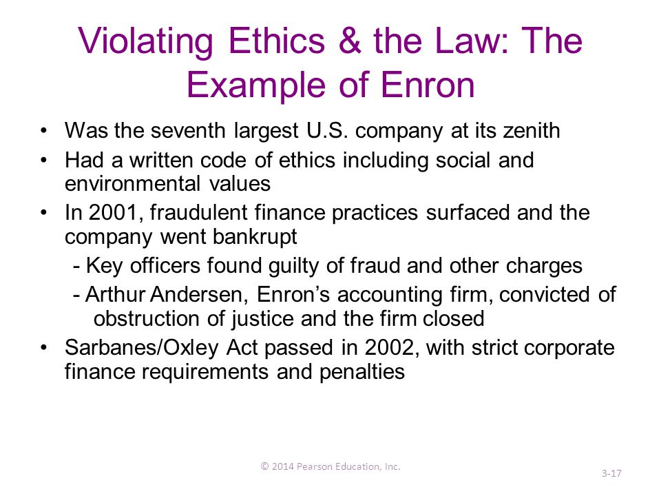 Violating Ethics & the Law: The Example of Enron