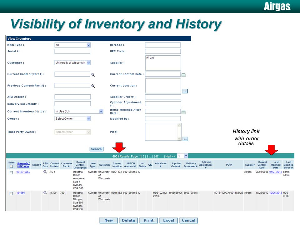 Visibility of Inventory and History cont.