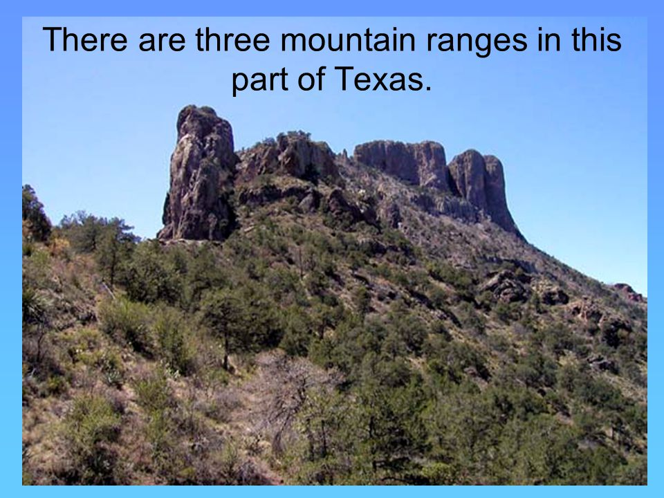 There are three mountain ranges in this part of Texas.
