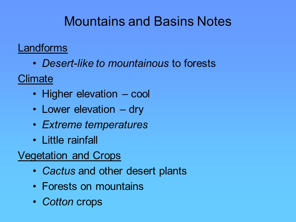 Mountains and Basins Notes