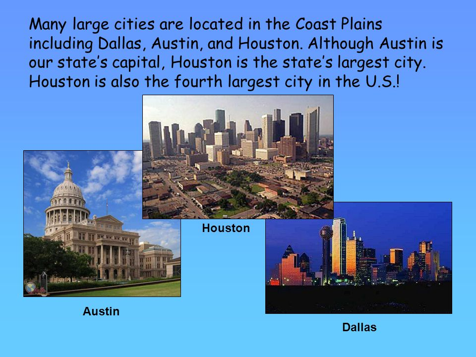 Many large cities are located in the Coast Plains including Dallas, Austin, and Houston. Although Austin is our state's capital, Houston is the state's largest city. Houston is also the fourth largest city in the U.S.!