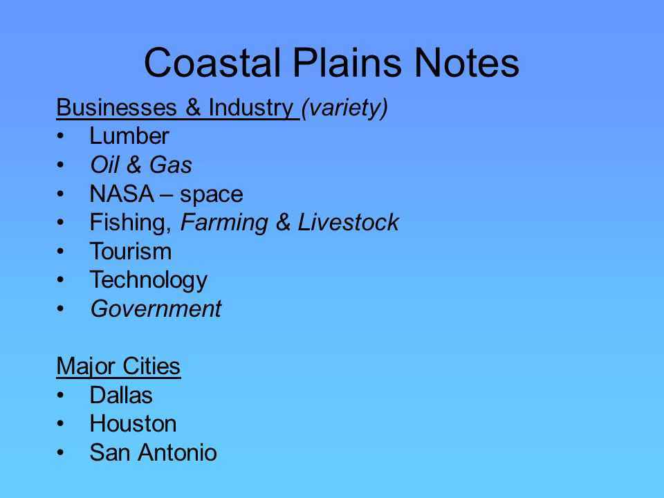Coastal Plains Notes Businesses & Industry (variety) Lumber Oil & Gas