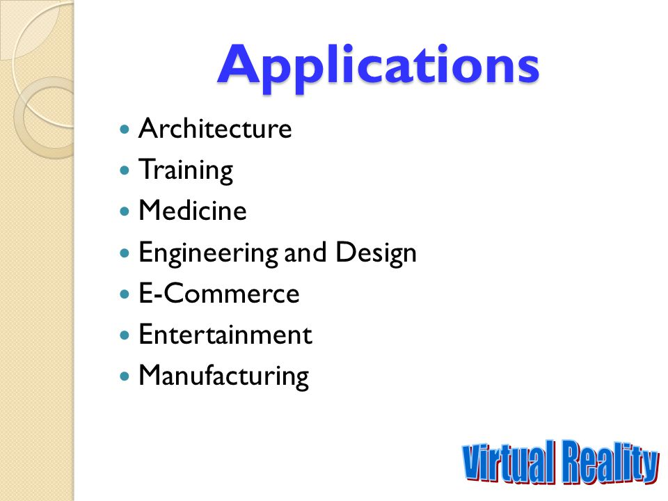 Applications Virtual Reality Architecture Training Medicine