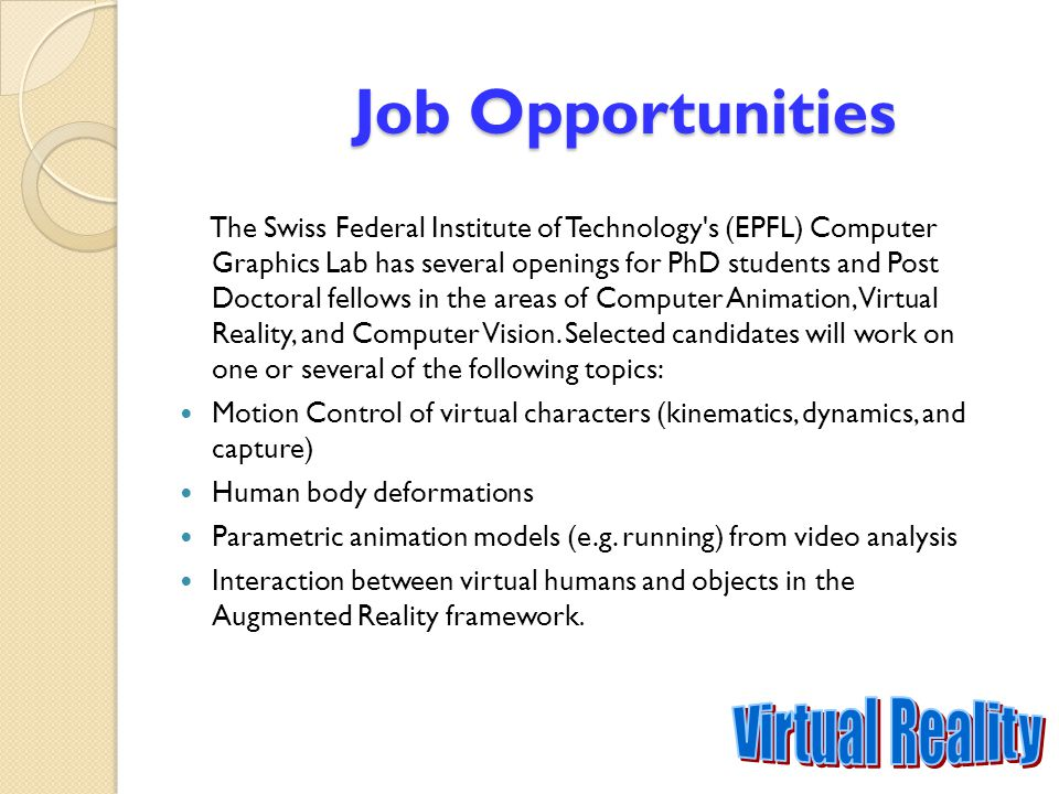 Job Opportunities Virtual Reality