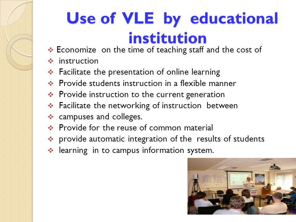 Use of VLE by educational institution