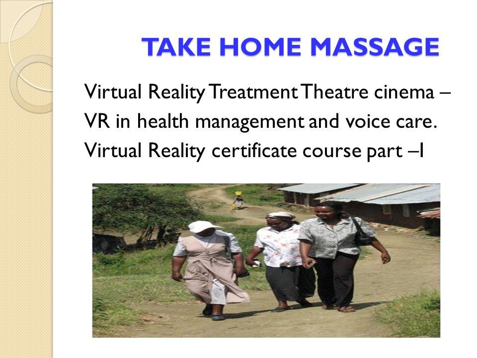 TAKE HOME MASSAGE Virtual Reality Treatment Theatre cinema –