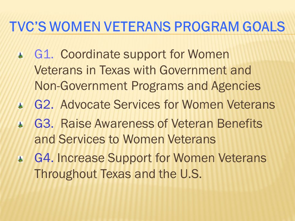 TVC's Women Veterans Program Goals