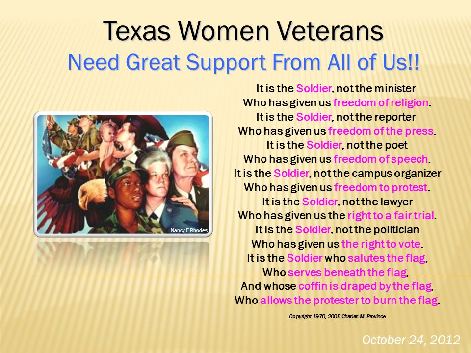 Texas Women Veterans Need Great Support From All of Us!!