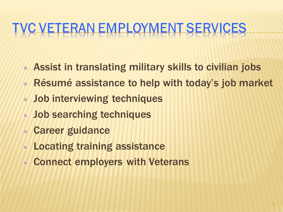 TVC Veteran Employment Services