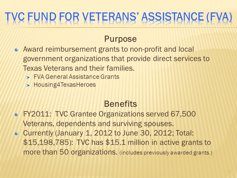 TVC Fund For Veterans' Assistance (FVA)