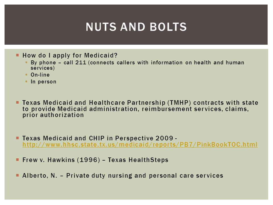 Nuts and Bolts How do I apply for Medicaid