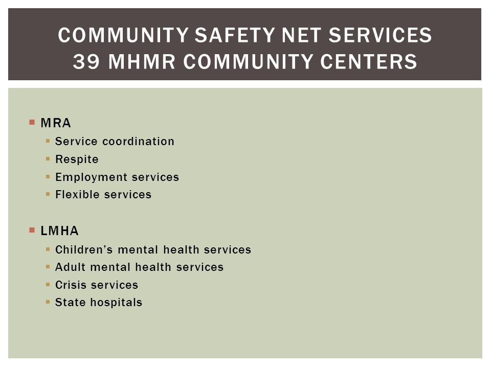 Community Safety Net Services 39 MHMR Community Centers