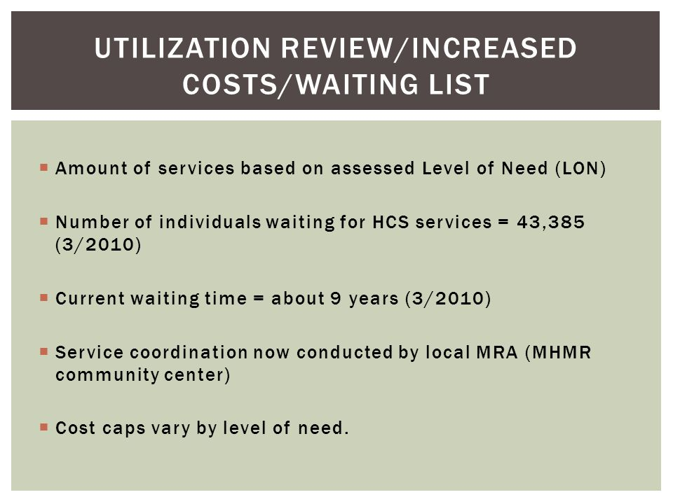 Utilization review/increased costs/waiting list