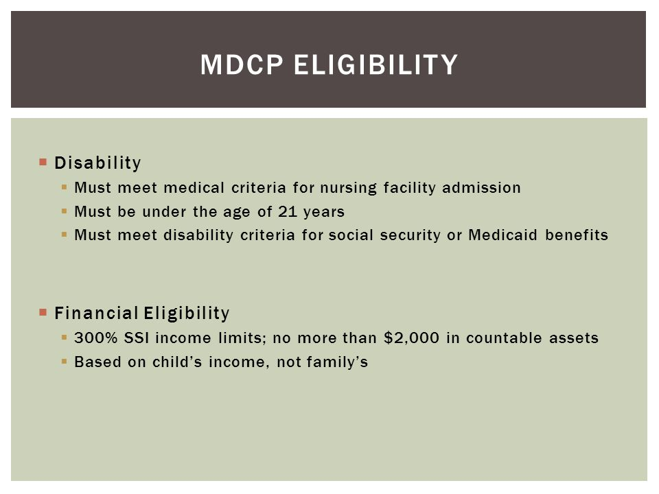 MDCP Eligibility Disability Financial Eligibility