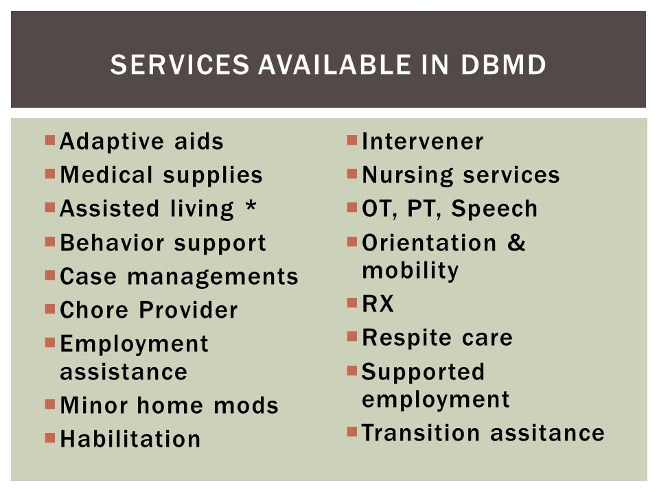 Services available in DBMD