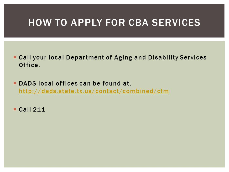 How to apply for cba services