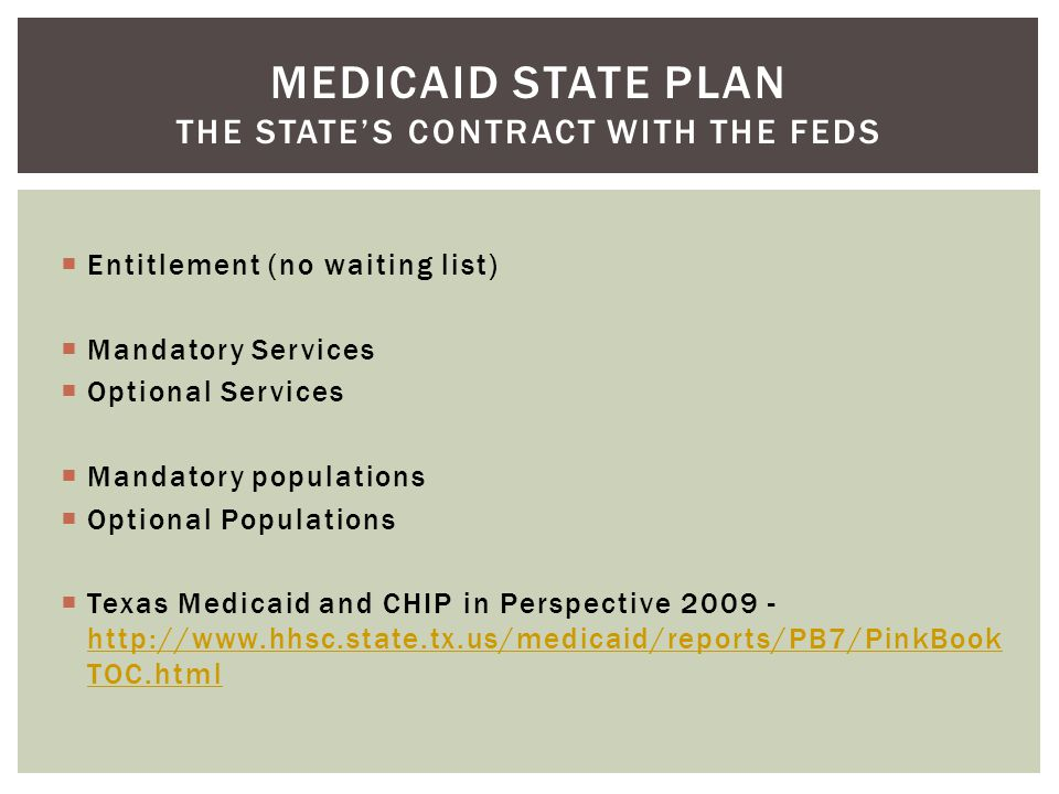 Medicaid State Plan The State's contract with the feds