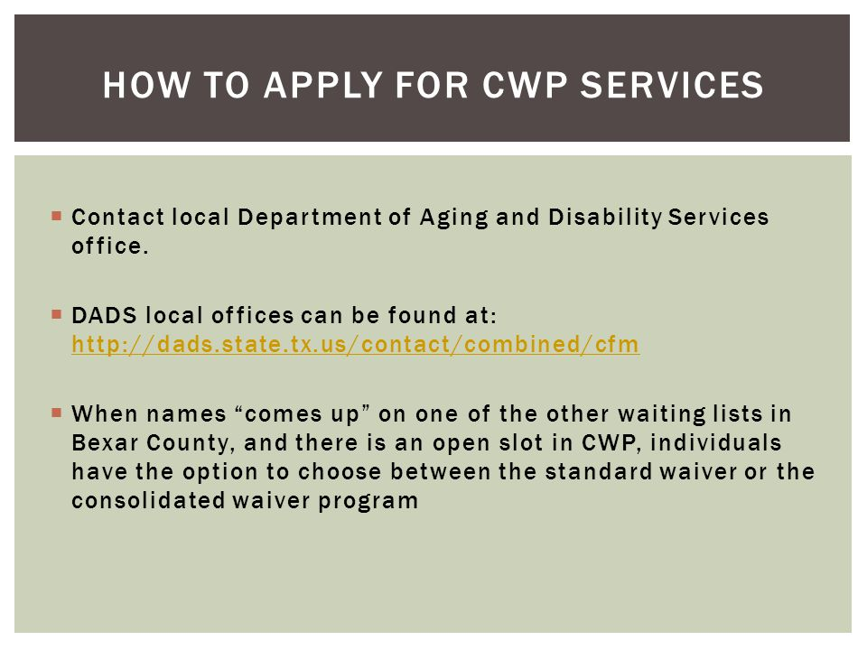 How to apply for cwp services