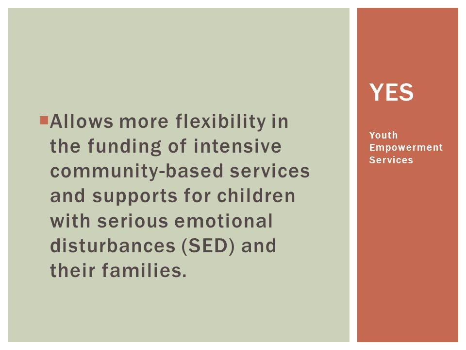 Allows more flexibility in the funding of intensive community-based services and supports for children with serious emotional disturbances (SED) and their families.