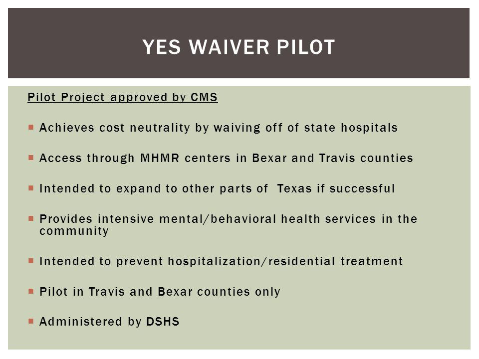 Yes Waiver Pilot Pilot Project approved by CMS