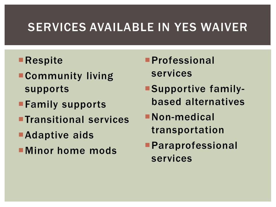 Services available in YES waiver