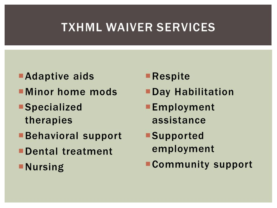 Txhml waiver services Adaptive aids Minor home mods