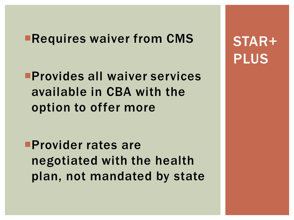 STAR+Plus Requires waiver from CMS