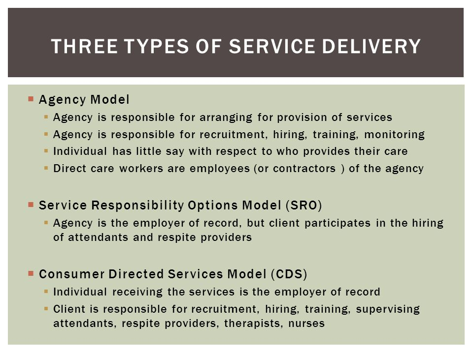 Three types of service delivery