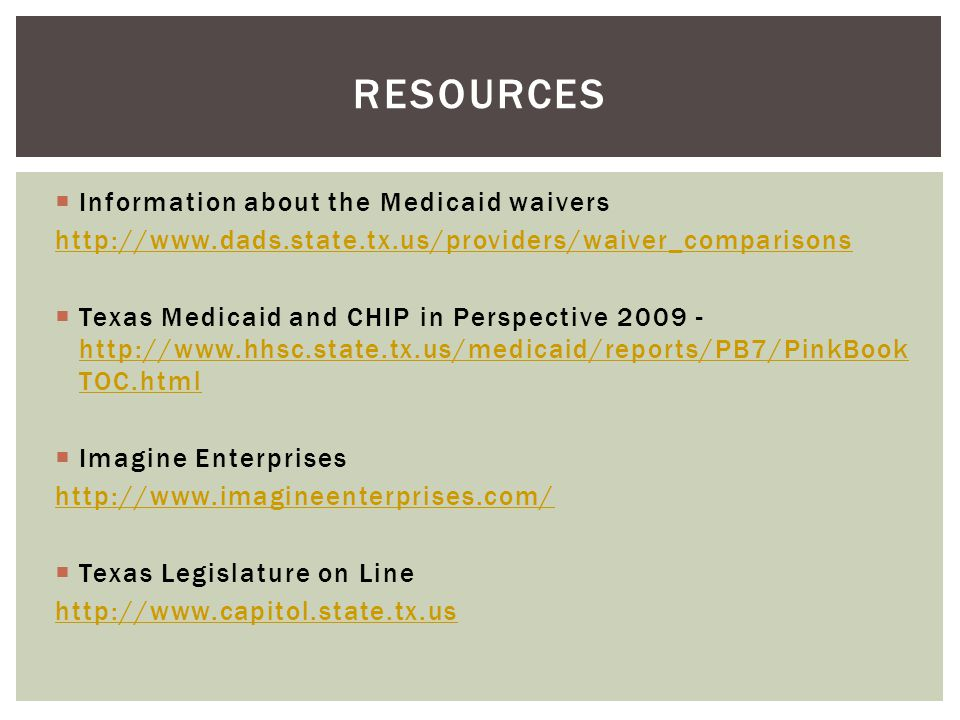 Resources Information about the Medicaid waivers