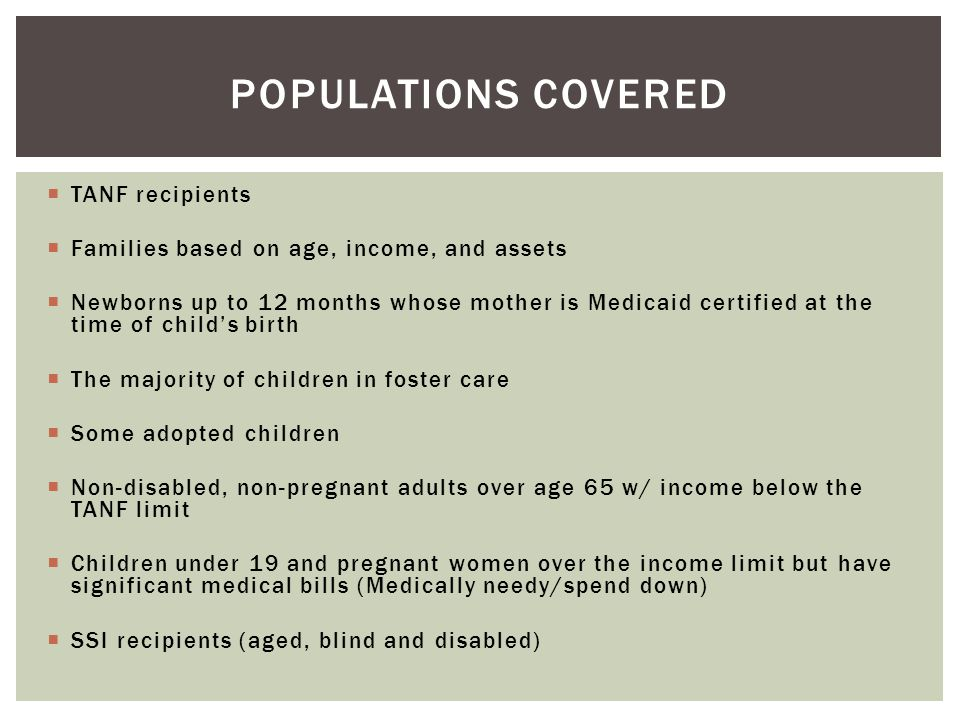 Populations Covered TANF recipients